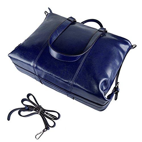 S-ZONE 3-Way delle donne delle signore della mucca Split Leather Shoulder Bags Borsa Borsa D-Blu zaffiro