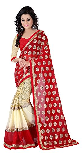 Laxmi Fashion Women's Georgette Saree With Blouse Piece (2043_Red-Kc-1)