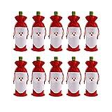 Cusfull 10 Unidades Bolsas de Regalo de Santa Navidad , Saco del Vino Caramelo Decoración de Santa Claus para Fiesta Bolso con Cordón Cubierta de Botella