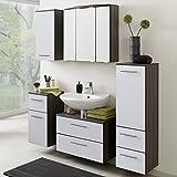 Badezimmermöbel Set VENEDIG-03 Hochglanz weiß, Eiche Dunkel, 70cm Waschbeckenschrank und Spiegelschrank, Midischrank, Hängeschrank, Unterschrank