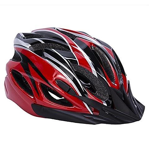 Babimax Casque de Sécurité Respirant Casque Vélo avec Visiere léger de Protection de Tête Casque VTT VTC Equipement de Sport pour Cycliste Unisexe Multicolore Casque Casquette 56-63 cm (Noir/Rouge, L)