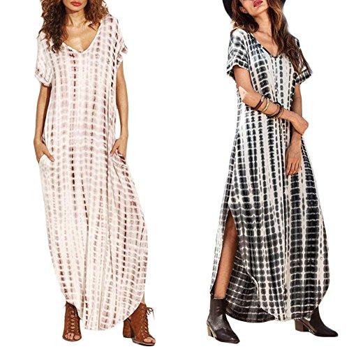 Juanya Maxi Short Sleeve Split Tie Dye Long Dress New