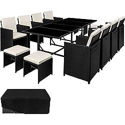 TecTake Ensemble Salon de jardin en Résine Tressée Poly Rotin Table Set 8+1+4 + Housse de Protection | Vis en Acier Inoxydable | diverses couleurs au choix (Noir | No. 402831)