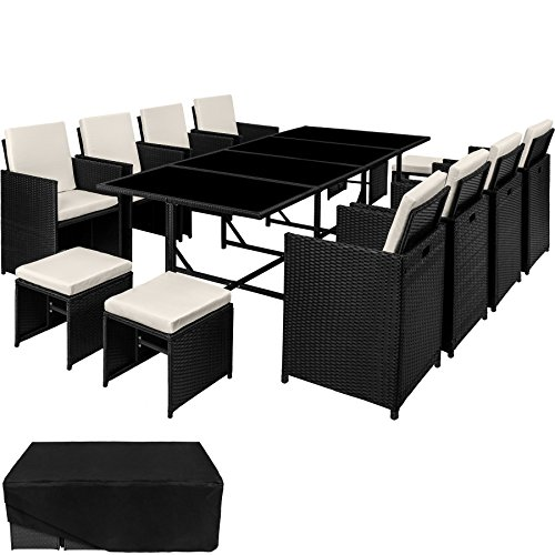 TecTake Ensemble Salon de jardin en Résine Tressée Poly Rotin Table Set 8+1+4 + Housse de Protection | Vis en...