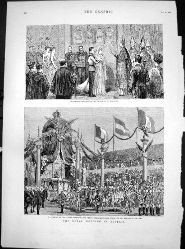 Antiker Druck königlichen Heiratsst. Augustine1881 österreich-Prinzessin-Stephanie Wien