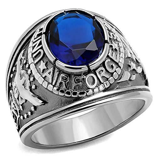 ISADY - US Air Force Saphir Edelstahl - Herren-Ring - Edelstahl - Zirkonium Blau - T 70 (22.3) - Herren-marine-ring