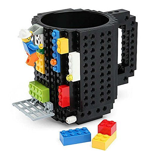 Building Brick Mug DIY Brick Tasse Building Blocks Kaffeetasse Puzzle Becher(Schwarz)