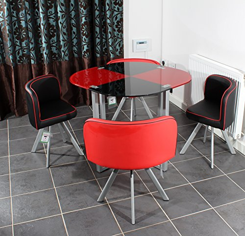 Red Round Dining Table: Charles Jacobs Space Saver Dining Table With Four Chair