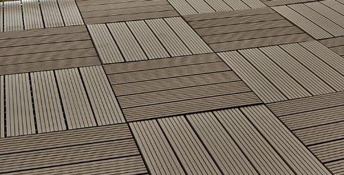 Piastrelle everfloor wpc da giardino misto plastica legno profilo