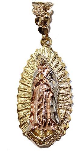Diamantados of Florida Virgen de Guadalupe Medalla-Nuestra señora de Guadalupe Medalla 14K Chapado en Oro Oval Colgante con Cadena de 22Pulgadas
