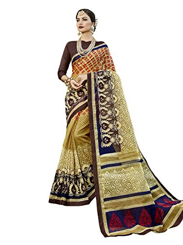 Kanchnar Women's Beige Color Cotton Silk (Poly Silk) Zari and Embroidery work...