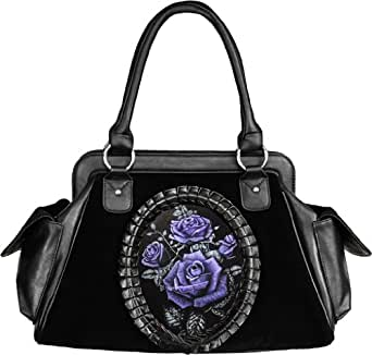 Handtasche Tasche Kunstleder + Samt Gothic romantische Rosen Hologramm schwarz