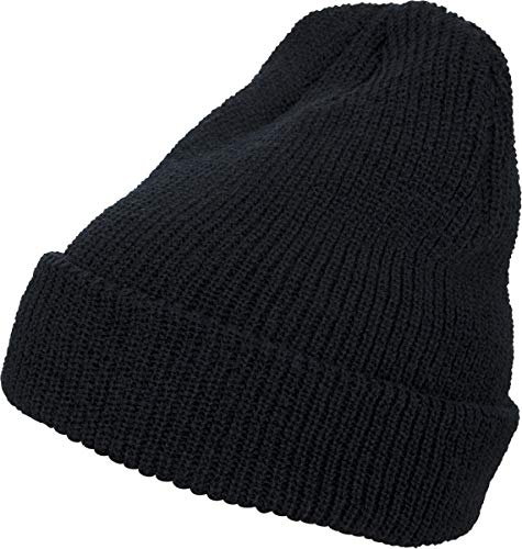 Flexfit Long Knit Beanie Cap, Black, one size