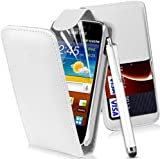 MOD SAMSUNG GT-I8160 GALAXY ACE 2 II FLIP PU LEATHER CASE COVER POUCH + 3x SCREEN PROTECTOR + STYLUS PEN (WHITE)
