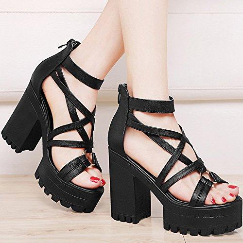 ZPPZZP La sig.ra sandali con pacchetto di stile occidentale a tacco alto con bold 35EU