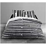 Today 015995Enjoy Piano–Juego de cama con funda de edredón/2fundas de almohada de algodón blanco/negro 240x 260cm