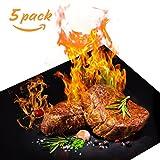 BBQ Grillmatte, Korostro BBQ Grillmatten wiederverwendbar 5er Set Antihaft Grill-und Backmatte zum Grillen und Backen Perfekt für Fleisch, Fisch und Gemüse 40x33 cm - 5er Set (Schwarz)