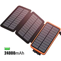 Cargador Solar 24000 mAh Batería Externa, Feelle Power bank Portátil con 3 Paneles Solares, 2 Puertos de USB ( 5V/2.1A*2) Cargador de Teléfono para iphone, Android, Tablet, Cámara, y Otros Dispositivos (Naranja 24000mAh)
