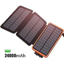 Cargador Solar 24000 mAh Batería Externa, Feelle Power bank Portátil con 3 Paneles Solares,