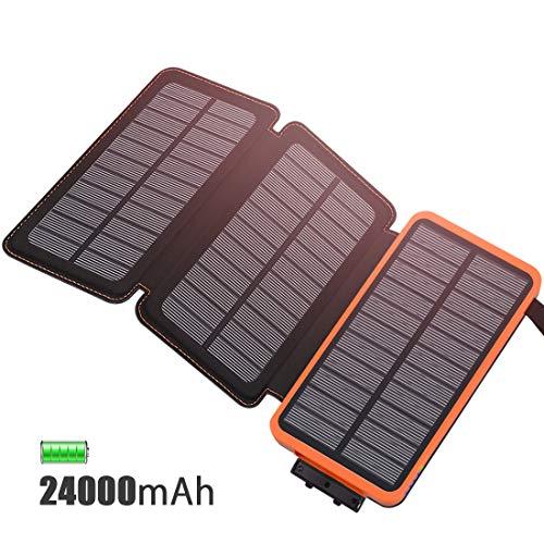 FEELLE Cargador Solar 24000mAh Batería Externa, Portátil Power Bank con 3 Paneles Solares con USB 2.1A Cargador para Android Phones, Tablet y Otros Smartphones