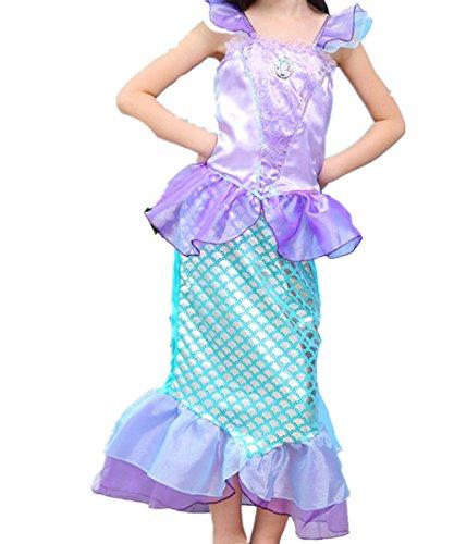 Kosplay Mädchen Pailletten kleine Meerjungfrau Kostüm Prinzessin Kleid Kostüme Eiskönigin Prinzessin Kostüm Kinder Kleid Mädchen Weihnachten Verkleidung Karneval Party Halloween Fest, Farbe: Style 2, Gr. 100