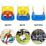 Qulista 3 in 1 Schaukel Abnehmbare höheverstellbare für Babys, Kleinkinder Kinderschaukel Babyschaukel draußen Indoor von 6 Monaten bis 12 Jahren Sicherheitssitz (Blau)