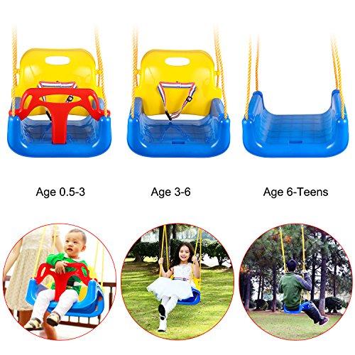 Buyi-World 3 in 1 Babyschaukel Gartenschaukel Schaukelsitz für Baby und Kinder, Verstellbar 2m Belastbar bis 80kg (blau + gelb)