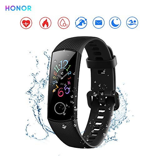 "Foto Honor Band 5 Activity Tracker 0,95"" Schermo AMOLED a Colori 50M Waterproof Heart Rate Monitor Wristbands Bracelet per Diverse modalità Sportive (Nero)"