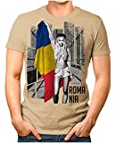 OM3® - Romania-Soccer-Girl - Herren T-Shirt EM 2020 Fußball Trikot Sexy Frau Rumänien Vintage Khaki 3XL