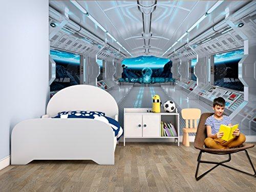 Fotomural Vinilo Pared Infantil Interior Nave Espacial | Fotomurales pared | Fotomural Decorativo | Vinilo Decorativo | Varias Medidas 200 x 150 cm | Decoración comedores, salones | Diseño Elegante