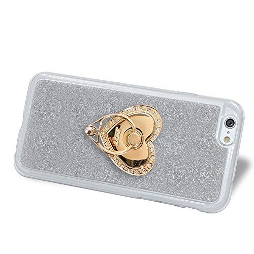 Für iPhone 6/6S 4.7 Zoll Schrittweise Farbwechsel TPU Cover, Herzzer Bling Glitter Schutz Hülle mit Liebe Herzen Ring Halter, Luxus Sparkles Glänzend Glitzer Silikon Crystal Case Durchsichtig Soft Rüc Silber Ring Halter