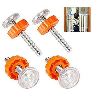 PERFETSELL 4 Pack Pressure Baby Gates Threaded Spindle Rods M10(10mm) Walk Thru Gates Accessory Screw Bolts Kit Fitting for Pressure Mounted Baby Safety Gates/Pet Safety Gates/Stair Gates(Orange)   10