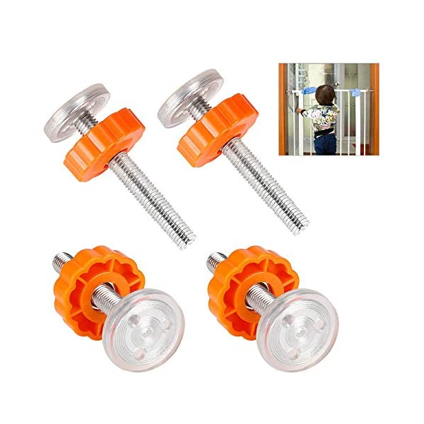 PERFETSELL 4 Pack Pressure Baby Gates Threaded Spindle Rods M10(10mm) Walk Thru Gates Accessory Screw Bolts Kit Fitting for Pressure Mounted Baby Safety Gates/Pet Safety Gates/Stair Gates(Orange) PERFETSELL 【Package Included】: Package included total 4 pack threaded Spindle Rods .Size:diameter M10 (10mm), length 80mm ,fit for all pressure mounted baby gates or pet gates.4 pack threaded spindle rods replacement, bring your old gate back into use,save you from buying a new gate. 【High Quality】:Our threaded spindle rods with steel core screw & ABS plastic, durable and reusable.Solid material that won't crack with pressure, help to make the banister gate fit snug and sturdy, so as to ensure safety of the kids or pets. 【Protection & Stability】:Make your baby gates more stable and do not failing over. Great way to protect the wall or your stair banisters. Rubber ends to protect your staircase from being scratched.Work great as replacement wall grips for our gate.(Do not use it at the top of the stairs.) 1