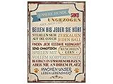 42x30cm XXL Shabby Holzschild UNSERE HUNDE SIND UNGEZOGEN Deko Vintage Hund Haustier