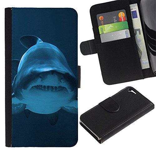 Graphic4You Weiß Hai Tier Design Brieftasche Leder Hülle Case Schutzhülle für Apple iPhone SE / 5 / 5S Design #6