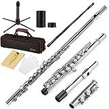 Eastar EFL-1 C Flöte 16 geschlossen Löcher Querflöte Instrument Vernickelt Flöte Anfänger Set mit Flötenständer Koffer Reinigungstuch Handschuhe