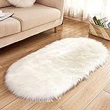 Sehr weicher, flauschiger Teppich aus Kunstfell, für Kinderzimmer, Wohnzimmer, Sofa, Boden, oval, 60 x 120 cm White Rug