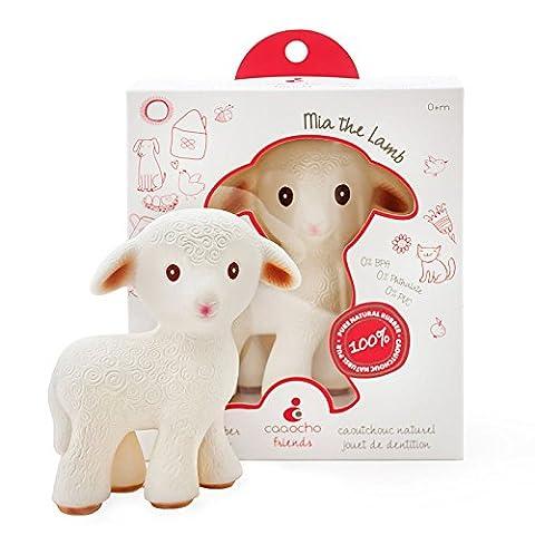 Mia l'agneau - un jouet de dentition en caoutchouc 100% naturel - sans BPA, sans PVC, sans Nitrosamines