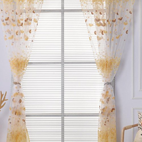 LCLrute 1 PC Blumendruck Fenster Vorhänge Einfarbig Fenster Behandlung Panels Tür Drapieren 100 cm x 200 cm (Gelb) (Mädchen Schlafzimmer Schabracken)
