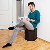Relaxdays Folding Storage Ottoman Hexagonal Footstool with Removable Lid, Total Size: 38 x 42 x 42 cm Faux Leather Seat, Brown
