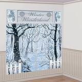 Amscan International ltd Wandtattoo: Wanddekoration, Winterlandschaft, Bedruckte Folie, 190 cm x 165 cm