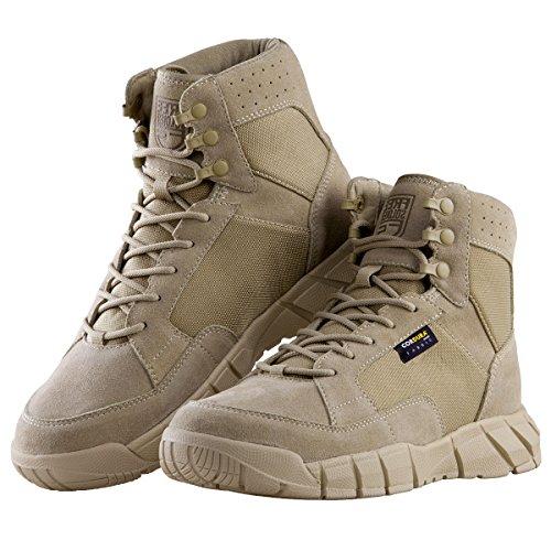 "Herren Stiefeletten Ultralight Military Tactical Arbeit Stiefel Knöchelhoch 6"" Inch Zoll Spitze bis atmungsaktiv Desert Boots (Tan 44)"