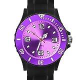 Taffstyle Damen Herren Sportuhr Armbanduhr Silikon Sport Watch Farbige Krone Analog Quarz Uhr 39mm Schwarz Lila