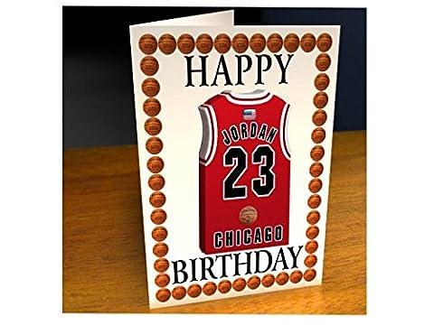 NBA Basketball Jersey Cartes de vœux Thème–Carte d'anniversaire personnalisée–N'importe Quel Nom, n'importe quel Nombre, n'importe quelle équipe., Homme femme Enfant, Chicago Bulls NBA Basketball Greeting Card