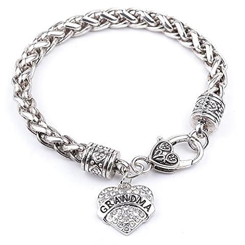 Femmes Freiner Chain Bracelet Plaqué Argent Peach Grand-Mère Coeurs Charme