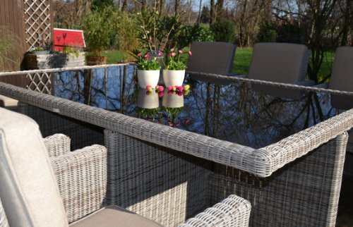 bomey Polyrattan Rattan Geflecht Garten Sitzgruppe Toscana XL in sand-grau Natur (Rundgeflecht 3mm) (Tisch 6 Sessel 3 Hocker) für 6 bis 9 Personen Bild 5*