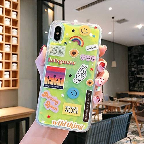 SHRHSJSJK Noctilucent Neon Sand Hülle Für iPhone XR XS Max X 6 6S 7 8 Plus Sexy Lippen Glow In The Dark Leuchtende Flüssigkeit Treibsand-Hülle capa -