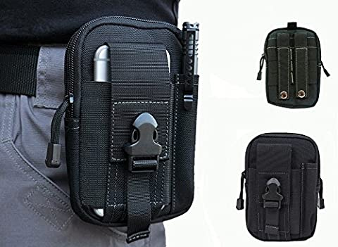 Wynoz Black 1000D Nylon Tough Duty Tactical Molle Compatible EDC Universal Casual Outdoor Gear Carrying Big Capacity Tool Belt Kit Waist Bag Holster for iPhone 6 Plus New Moto X