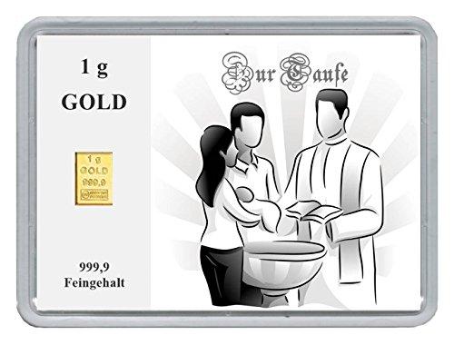 """New Edition 1g Goldbarren 999,9 Feingehalt in einer Kapsel mit Motivbox""""Zur Taufe"""" in edler Goldverpackung (Zur Taufe)"""