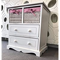 Home Delights White Chest Drawers Storage Unit Wicker Baskets Pink Girls Furniture Shabby Chic